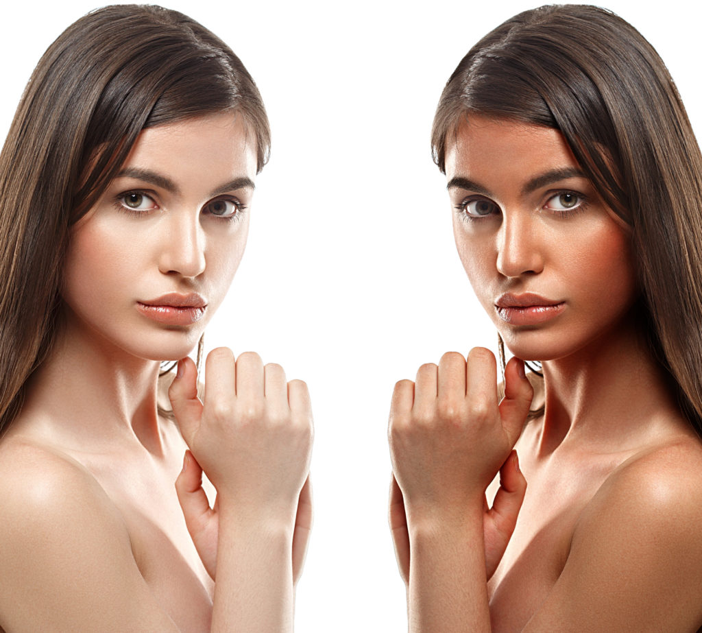 Before and after picture of a woman who has had a Technotan spray tan